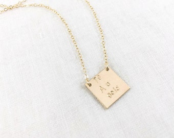 Gold element Au (periodic table) necklace. 14k gold filled. atomic number. science. gold symbol. square. hand stamped. precious metal