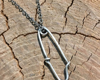 Handmade Sterling Safety Pin Necklace
