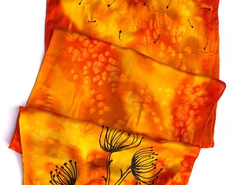 Dandelion Scarf - Hand Painted Orange Silk