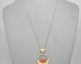Geometric Pendant & Coral Stone Pendant Necklace