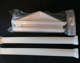 SALE Vintage Lawbre White Plaster Dollhouse Miniature Architecture Grecian Pediment And Fluted Columns Set Supplies