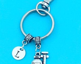 Medicine Bottle & Syringe Keychain, Syringe Key Chains, Custom Any Charm, Syringe Keyring, Personalized Keychain, Syringe Key Rings, Nurse