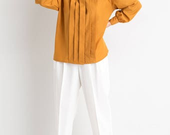 80s Gold Pleated Front Blouse
