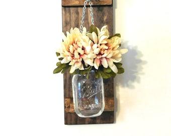 Hanging Mason Jar Wall Sconce Flower Vase Candle Sconce Rustic Mason Jar Decor Country Farmhouse Decor