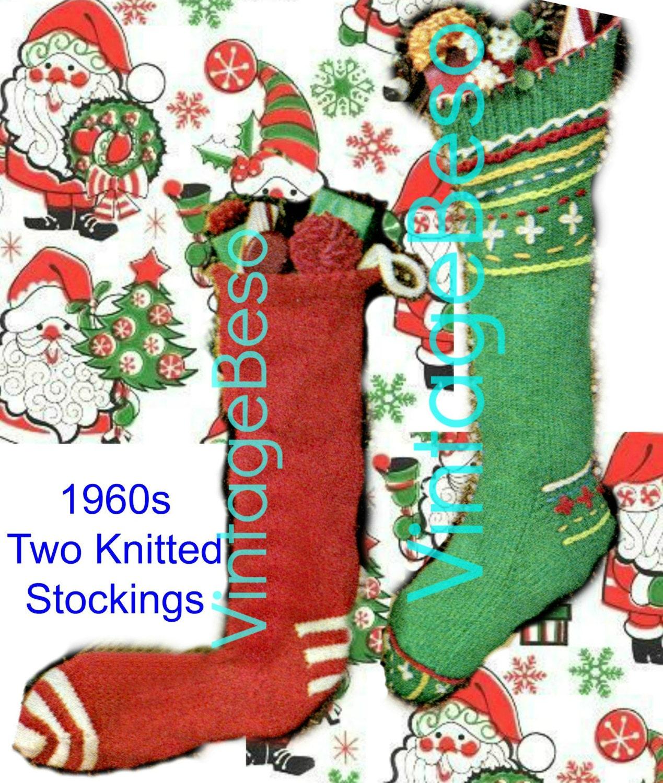 Christmas Stocking Knitting Patterns Vintage : Two Patterns Christmas Stocking KNITTING Pattern by VintageBeso