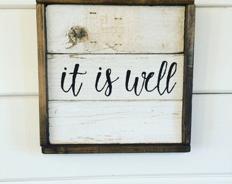 Barnwood Shiplap Sign | Farmhouse sign | It Is Well | Reclaimed Wood Sign | Rustic Wood Sign | Bible Verse | Chippy Shiplap