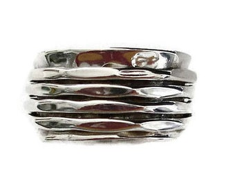 Spinner Ring Sterling Silver Hammered 4 Ring , Chunky Spinner Ring, Wide Spinner Ring, Statement Spinner Ring, Mistry Gems, SP22