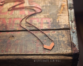 Chevron Geometric Arrow Necklace | Copper Boho Layering