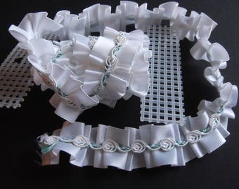 White Ribbon Rose Satin Trim for Crafts or Sewing 1 yard Estate Sale Find