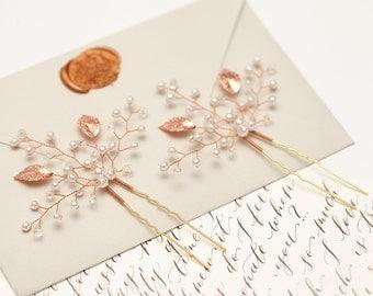 Rose gold bridal hair pins Rose gold leaf hair pins Rose gold headpiece Rose gold leaf headpiece Rose gold wedding hair accessory