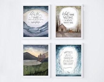 Harry Potter Poster Set of 4 Prints, Harry Potter Art Set | Dumbledore, Hogwarts, Hedwig, Hagrid, Best Harry Potter Gifts, Printable Fan Art