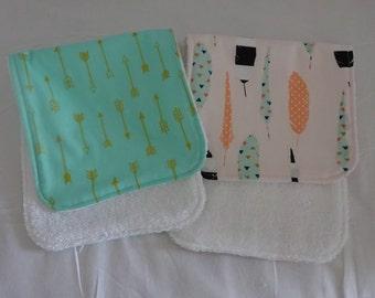 Baby Burp Cloths, Burp Cloth Set, Terry  Burp Cloths, Baby Gift, Burp Rag Set, Set Of Two Burp Cloths, Gender Neutral Burp Cloths