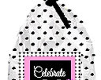 CakeSupplyShop Item#023BFC 23rd Birthday / Anniversary Pink Black Polka Dot Party Favor Bags with Twist Ties -12pack