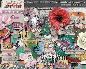 Rainbow digital scrapbooking elements, digital download, wizard of oz, embellishments, vintage ephemera, flowers, frames, fairytale, dreams