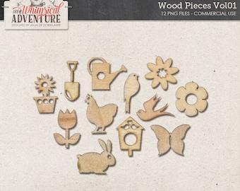 Wooden Farmhouse Elements, Digital Scrapbooking Elements, Commercial Use OK, Wood Veneer, Farm, Garden, Outdoor Kits, Bird, Chicken, Flower