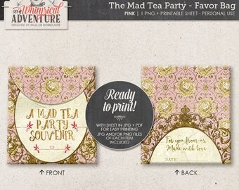 Gold and Pink Mad Tea Party Decorations, Printable Party Favor Bag, Digital Download, Printable Collage Sheet, Alice In Wonderland Decor