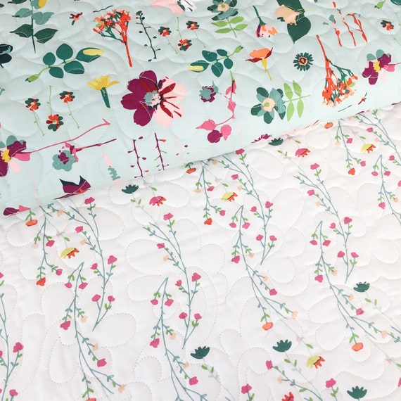 Garden Dreamer Wholecloth Baby Quilt with Moment in Time and Climbing Posies >> MADE-to-ORDER modern floral toddler quilt, garden crib quilt