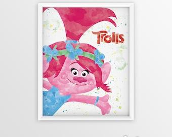 Trolls Poppy Watercolor Printable, Home Decor, Art Print, Trolls Party Decorations, Kids Room Decor Art Poppy Poster