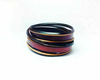 Leather wrap bracelet - Ladies/Mens cuff bracelet - Boho bracelet - Mahogany bracelet - Brown wrap bracelet - handcrafted