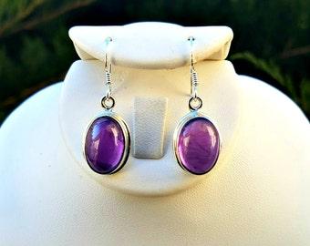 Amethyst Earrings -  Christmas Gift for Her - Crystal Earrings - Dangle Earrings -  Purple Gemstone Earrings