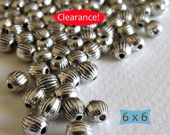 Small Ribbed Pewter Spacers--24 Pcs | SU114-24