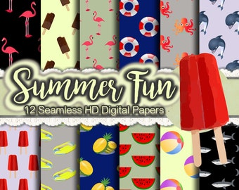 Summertime Print Papers - Summer Scrapbooking Paper, Flamingo Paper, Dolphin Paper, Watermelon Paper, Popsicle Paper, Beach Paper, Sharks
