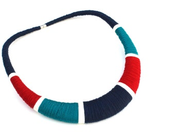 Tribal Navy Red Teal Bib Statement Necklace Textile Multicolor Necklace Gift for Architect Fiber Statement Jewelry