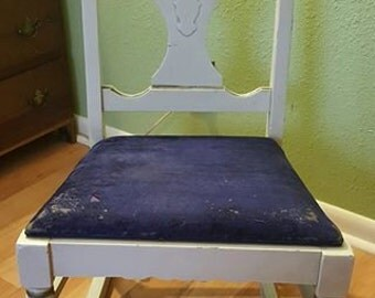1910-1930's ROCKING CHAIR Victorian Small Adult or Large Child's Gold Gild White Wood Blue Velvet Seat Needs Re-Covered but otherwise Great!
