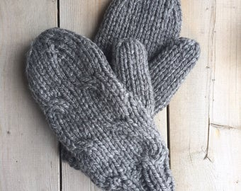 True Grey Bulky Yarn Cable Knit Mittens Lined With Flannelette