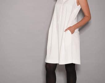 White dress, sleeveless dress, loose dresses,white dresses for women, dress for women, Button dress,elegant dress, holiday dress,  day dress
