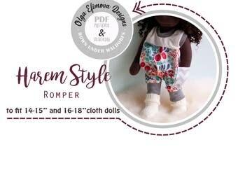 "PDF Pattern. Tutorial 14"", 15"", 16"", 17"", 18"" - Harem Style Romper. Sewing. Waldorf Doll. Doll Clothing. Romper.  Down Under Waldorfs. DIY"