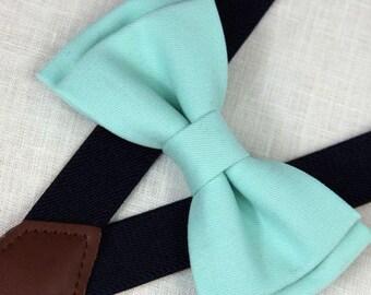 Mint green cotton bowties,BOWTIE SUSPENDER SET,wedding bowties navy blue suspenders,infant bowties,toddler bowtie,boy bowtie,men bowties