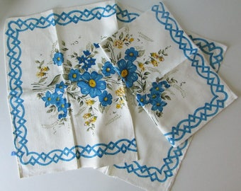 Two Vintage White Tea Towels with Blue, Yellow and Green Floral Design 17053
