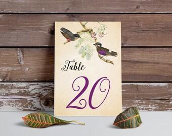 Table Numbers, Vintage table numbers, PRINTABLE table numbers, birds table number, birds vintage table numbers, purple, wedding table number