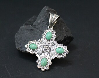 Sterling Silver and Green Turquoise Native American Navajo Cross Pendant