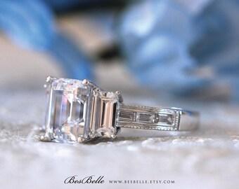 6.50 ct.tw Engagement Ring-Emerald Cut Diamond Simulants Ring-Three Stone-Wedding Ring-Bridal Ring-Solid Sterling Silver [7213]