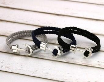 Anchor men bracelet Groomsman bracelet Braided suede cord Nautical wedding gifts for groomsmen Mens jewelry Under 20 dollars Sailor theme