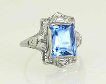 Antique Estate Art Deco 3.50ct Blue Topaz Filigree 14K White Gold Ring 2.4g