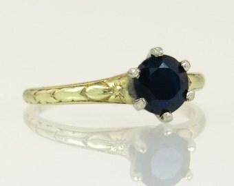 Vintage Traub 14K Gold Platinum .75ct Genuine Blue Sapphire Art Deco Ring 1.9g
