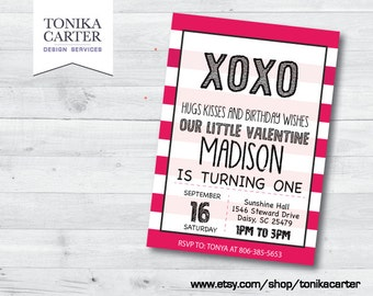 Valentine XO Birthday Party Invitation (pink and black)