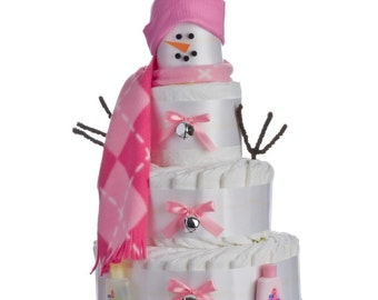 Snowgirl Baby Diaper Cake by Lil' Baby Cakes
