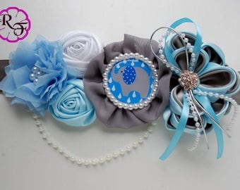 Maternity sash / Gray and blue Maternity sash /Pregnancy sash /blue and gray elephant baby shower / Mommy to be sash / Baby shower sash belt