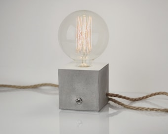 Concrete Lamp. Concrete table lamp. Concrete desk lamp. Industrial style. Concrete light. Table lamp. Jute cable. Lightning. Jute. Concrete