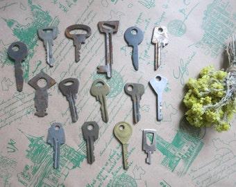 Old Vintage Keys Country kitchen Steampunk jewellery Soviet vintage Iron skeleton keys Antique supplies Vintage supplies Old key Metal key