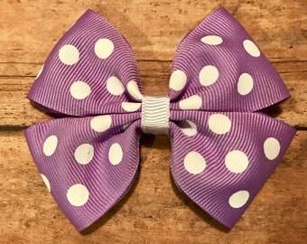 purple polka dot bow, hair bows, hair clips, girls hair bows, hair bows for girls, boutique bows, kids bows