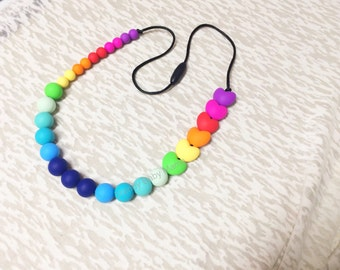 Silicone Heart Teething Necklace - Nursing Breastfeeding Sensory - Rainbow Baby - Chew Love Beads - Trendy Shower for Mom - Modern Gift Her
