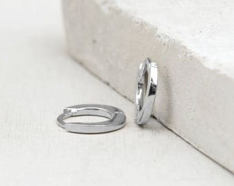 Plain, No Stones Thin Mini Ear Huggie Hoop Earrings, SILVER- Plain cartilage hoops - Different sizes available