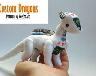 Custom Baby Dragon Plush - white newborns