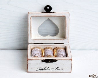 wedding box, ring bearer box, ring box, custom ring holder, personalized box, engagement ring box, wedding ring holde, box heart, shabby box