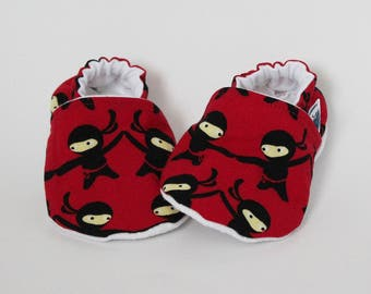 Baby slippers, Crib shoes, Ninjas, Red, Black, Funny, Geek, Cute, Flannel, Cotton, Soft soles, Moccasins, Toddler, Shower gift idea, Newborn